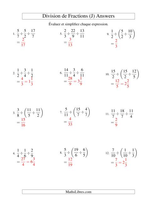 Division et Simplification de Fractions Impropres -- 3 fractions (J) page 2