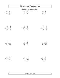 Division et Simplification de Fractions Propres (A)