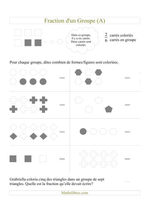 La Dites Combien de Formes/Figures Sont Coloriées (A) Fiche d'Exercices sur les Fractions
