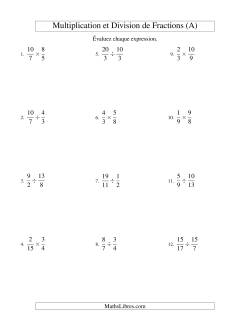 Multiplication et Division de Fractions (A)