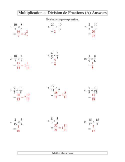 Multiplication et Division de Fractions (Tout)