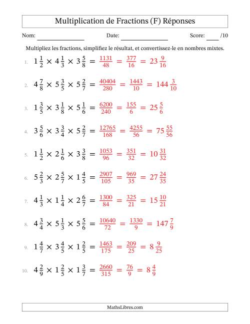 Multiplication et Simplification de Fractions Mixtes -- 3 fractions (F) page 2