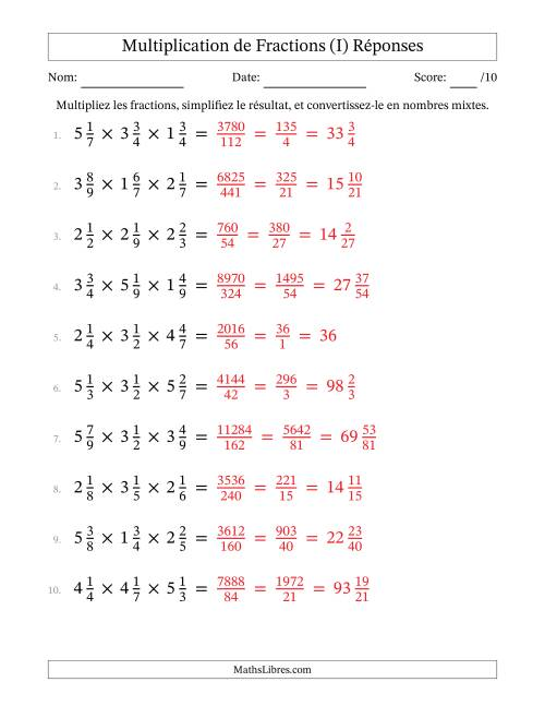 Multiplication et Simplification de Fractions Mixtes -- 3 fractions (I) page 2