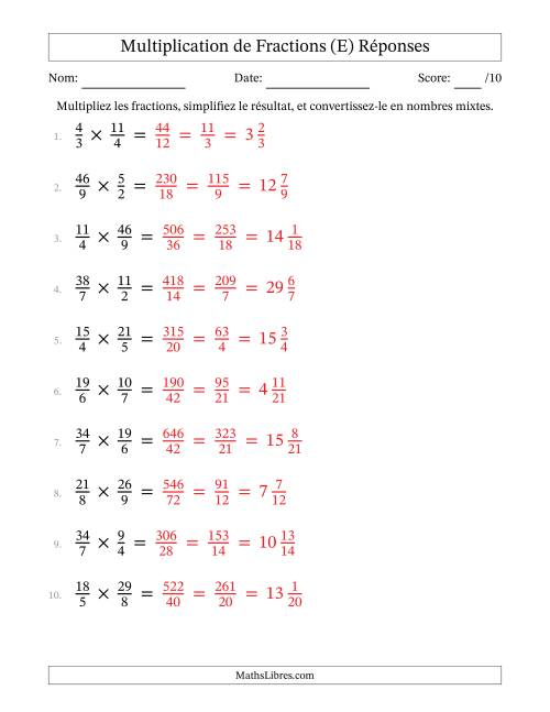 Multiplication et Simplification de Fractions Impropres (E) page 2