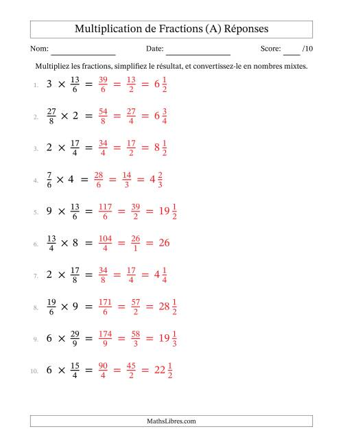 Multiplication et Simplification de Fractions (A) page 2
