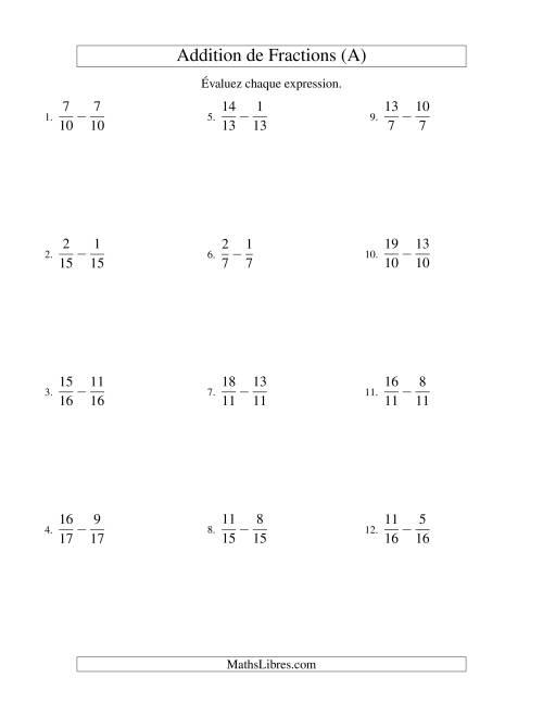 La Soustraction de Fractions Impropres (A) Fiche d'Exercices sur les Fractions