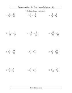 Soustraction de Fractions Mixtes (Difficiles) (A)