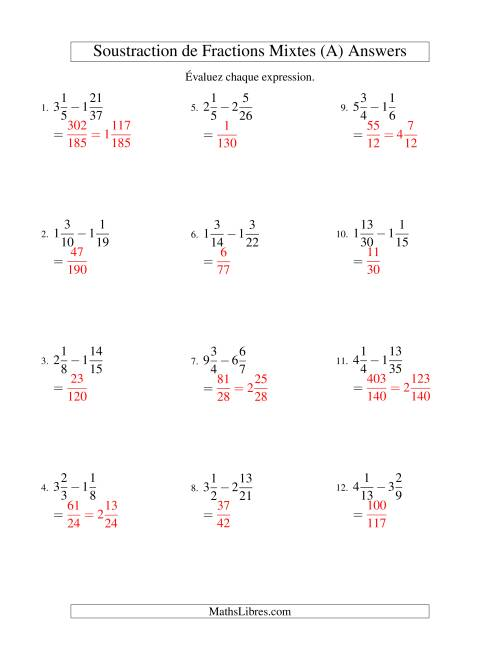 Soustraction de Fractions Mixtes (Difficiles) (A) page 2