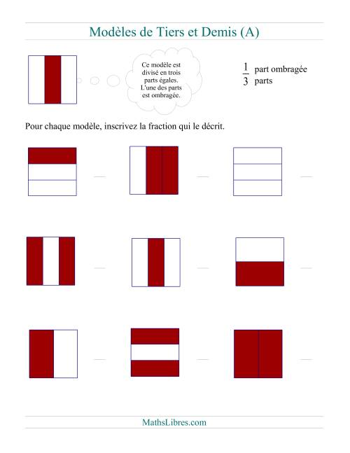 La Modèles de Demis et de Tiers (A) Fiche d'Exercices sur les Fractions