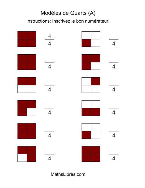 La Modèles de Quarts (A) Fiche d'Exercices sur les Fractions