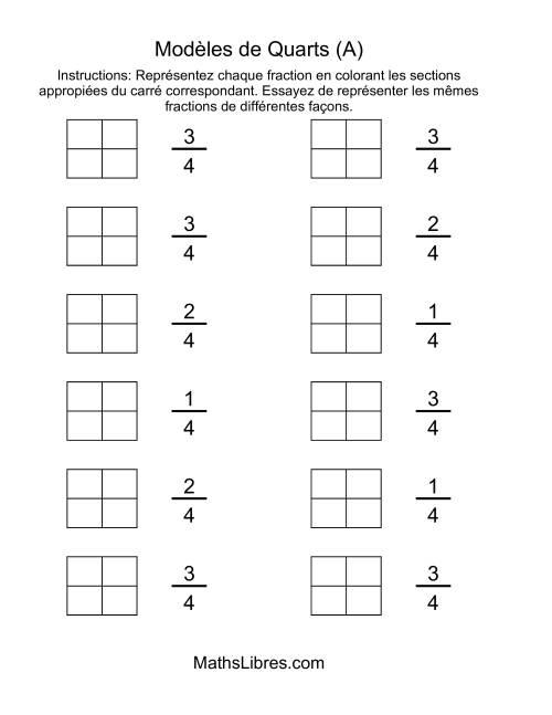 La Modèles de Quarts (Couleur) (A) Fiche d'Exercices sur les Fractions