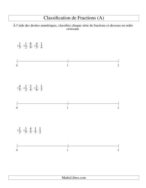 La Classification en Ordre de Fraction sur Bande Numérique -- Dénominateurs jusqu'à 10 (A) Fiche d'Exercices sur les Fractions