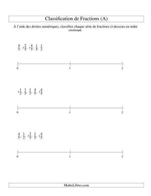 La Classification en Ordre de Fraction sur Bande Numérique -- Dénominateurs jusqu'à 10 (Faciles) (A) Fiche d'Exercices sur les Fractions
