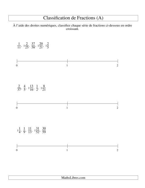 La Classification en Ordre de Fraction sur Bande Numérique -- Dénominateurs jusqu'à 60 (A) Fiche d'Exercices sur les Fractions