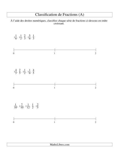 La Classification en Ordre de Fraction sur Bande Numérique -- Dénominateurs jusqu'à 60 (Faciles) (A) Fiche d'Exercices sur les Fractions