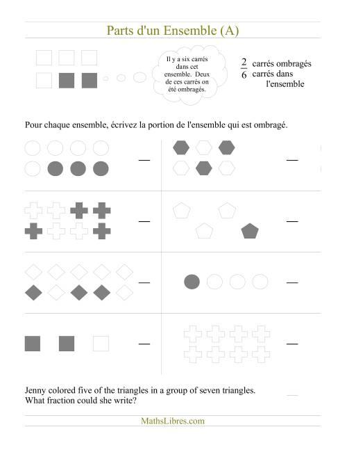 La Parts d'un Ensemble (A) Fiche d'Exercices sur les Fractions