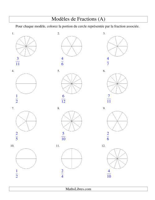 La Représentation de Fractions: Demis à Douzièmes (Couleur) (A) Fiche d'Exercices sur les Fractions