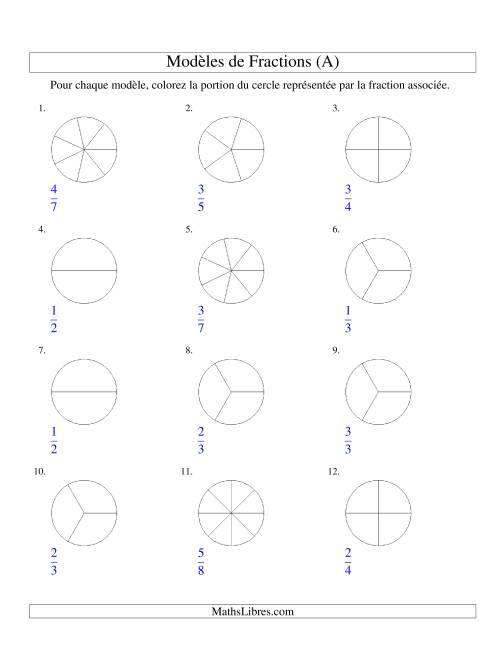La Représentation de Fractions: Demis à Huitièmes (Couleur) (A) Fiche d'Exercices sur les Fractions