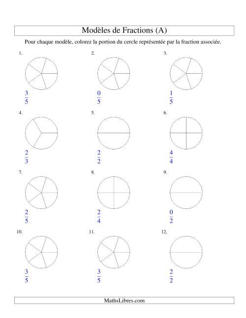La Représentation de Fractions: Demis à Sixièmes (Couleur) (A) Fiche d'Exercices sur les Fractions