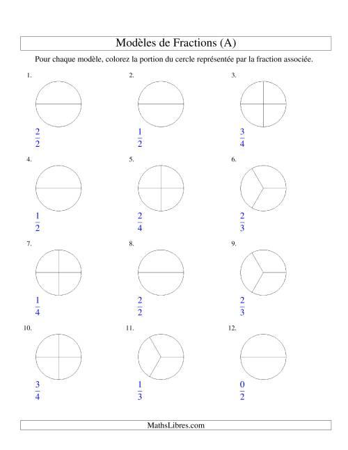 La Représentation de Fractions: Demis, Tiers et Quarts (Couleur) (A) Fiche d'Exercices sur les Fractions