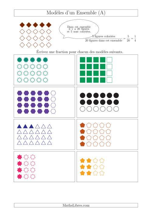 La Représentation des Fractions avec des Modèles d'un Ensemble Jusqu'aux Huitièmes (A) Fiche d'Exercices sur la Fraction