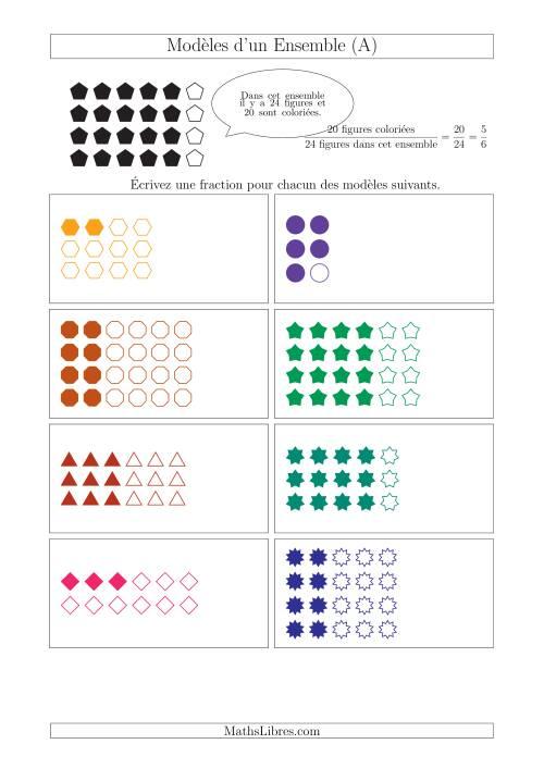 La Représentation des Fractions avec des Modèles d'un Ensemble Jusqu'aux Sixièmes (A) Fiche d'Exercices sur la Fraction