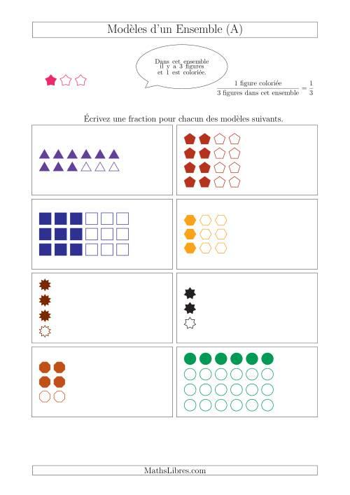 La Représentation des Fractions avec des Modèles d'un Ensemble (Demis, Tiers et Quarts) (A) Fiche d'Exercices sur la Fraction