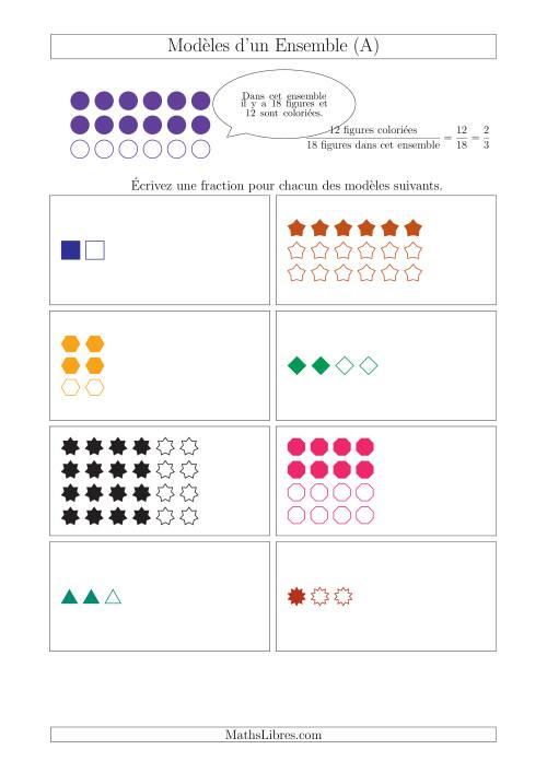 La Représentation des Fractions avec des Modèles d'un Ensemble (Demis et Tiers) (A) Fiche d'Exercices sur la Fraction