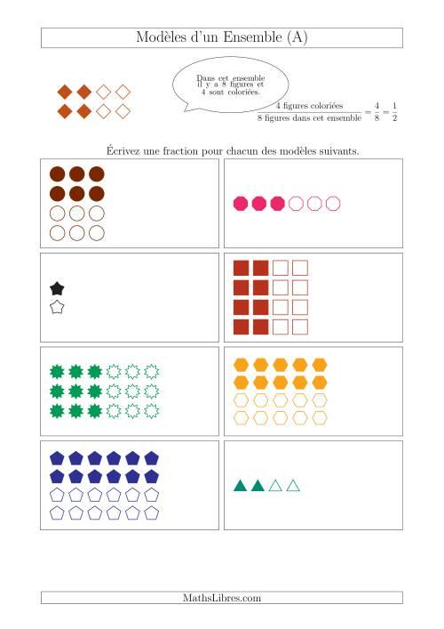 La Représentation des Fractions avec des Modèles d'un Ensemble (Demis Seulement) (A) Fiche d'Exercices sur la Fraction