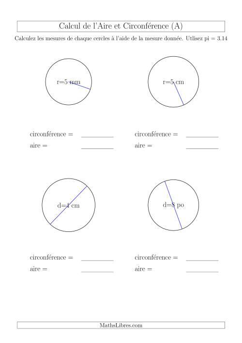 La Calcul de l'Aire & Circonférence à Partir de la Diamètre (A) Fiche d'Exercices sur la Géométrie