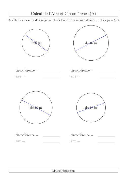 La Calcul de Mesures d'un Cercle (A) Fiche d'Exercices sur la Géométrie