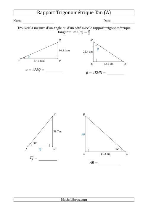 Calcul de la mesure d 39 un angle ou d 39 un c t avec le for Marche d angle calcul