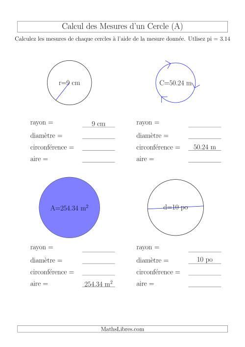La Calcul de l'Aire & Circonférence (A) Fiche d'Exercices sur la Géométrie