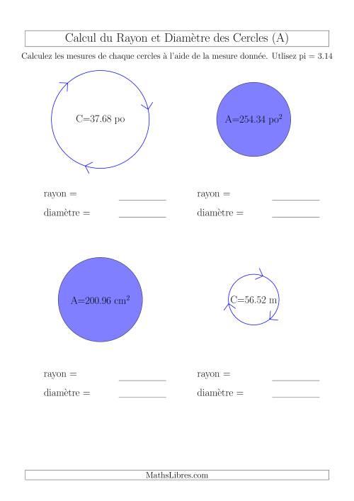 La Calcul du Rayon & Diamètre (A) Fiche d'Exercices sur la Géométrie