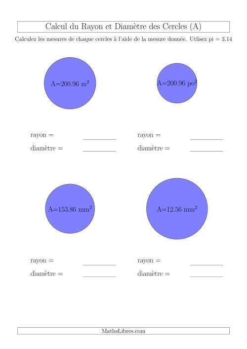 La Calcul du Rayon & Diamètre à Partir de l'Aire (A) Fiche d'Exercices sur la Géométrie