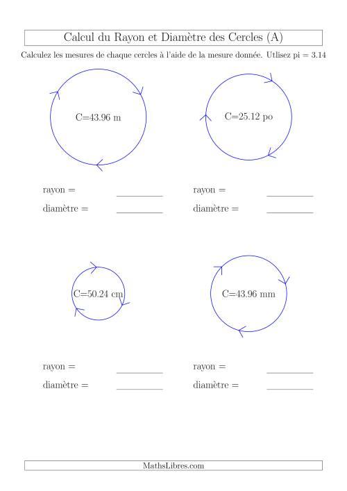 La Calcul du Rayon & Diamètre à Partir de la Circonférence (A) Fiche d'Exercices sur la Géométrie