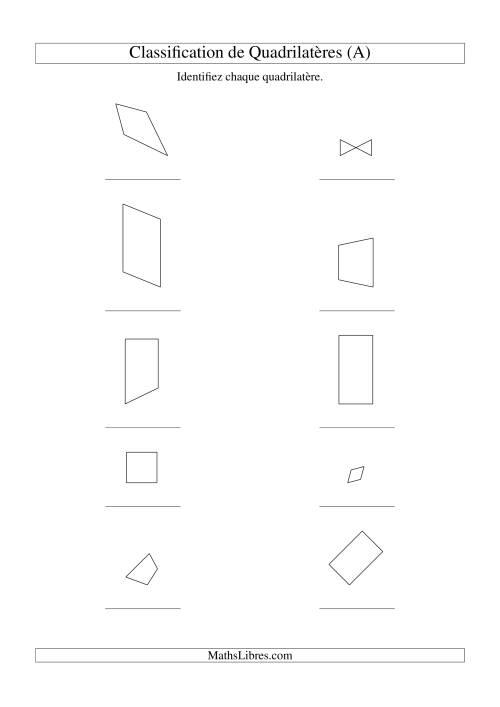 La Classification de quadrilatères (avec rotation) (A) Fiche d'Exercices sur la Géométrie