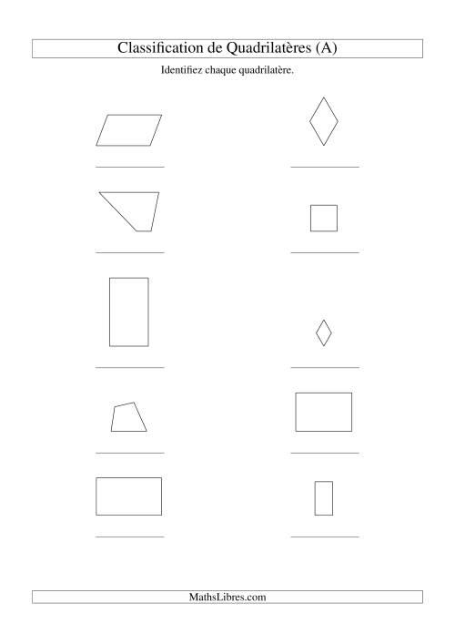 La Classification de quadrilatères (carrés, rectangles, parallélogrammes, trapèzes, losanges et non-définis) (A) Fiche d'Exercices sur la Géométrie
