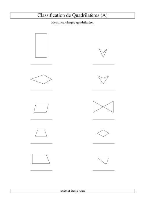 La Classification de quadrilatères (sans rotation) (A) Fiche d'Exercices sur la Géométrie