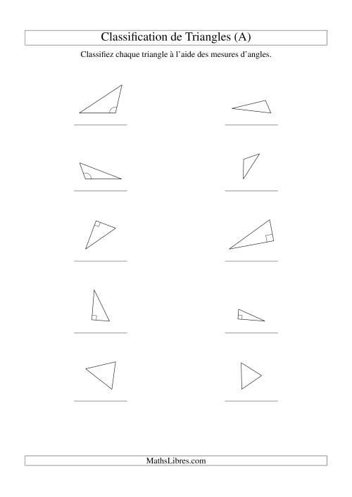 La Classification de triangles à l'aide de leurs angles (A) Fiche d'Exercices sur la Géométrie