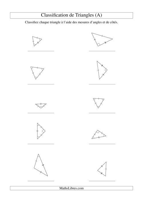 La Classification de triangles à l'aide de leurs angles et mesures de côtés (A) Fiche d'Exercices sur la Géométrie