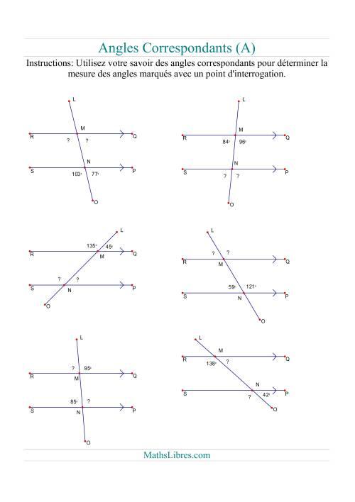 La Angles correspondants (A) Fiche d'Exercices sur la Géométrie