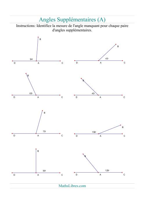 La Angles supplémentaires (A) Fiche d'Exercices sur la Géométrie