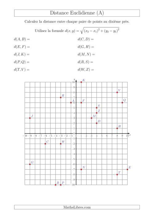La Calcul de la Distance Entre Deux Points à l'Aide du Théorème de Pythagore (A) Fiche d'Exercices sur la Géométrie