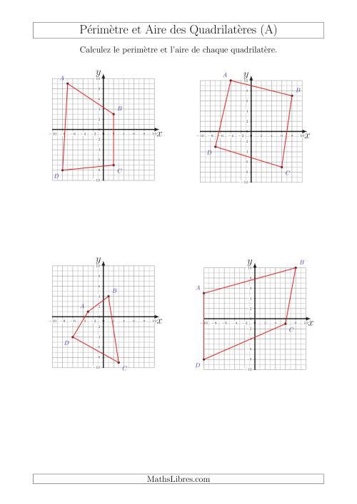 La Calcul du Périmètre et de l'Aire des Triangles sur un Plan de Quadrilatères (A) Fiche d'Exercices sur la Géométrie