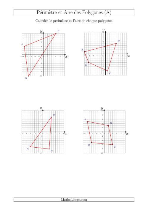 La Calcul du Périmètre et de l'Aire des Triangles et Quadrilatères sur un Plan de Coordonnées (A) Fiche d'Exercices sur la Géométrie