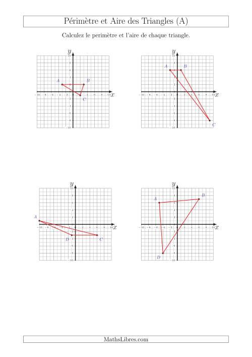 La Calcul du Périmètre et de l'Aire des Triangles sur un Plan de Coordonnées (A) Fiche d'Exercices sur la Géométrie