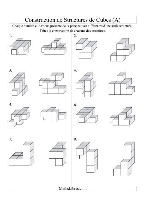 La Construction de structures de cubes (A) Fiche d'Exercices sur la Géométrie