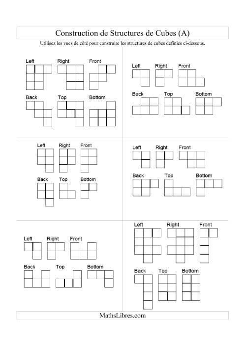La Vues de côté de structures de cubes (A) Fiche d'Exercices sur la Géométrie