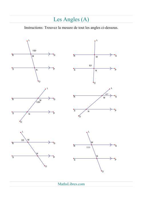 La Tout angles (A) Fiche d'Exercices sur la Géométrie